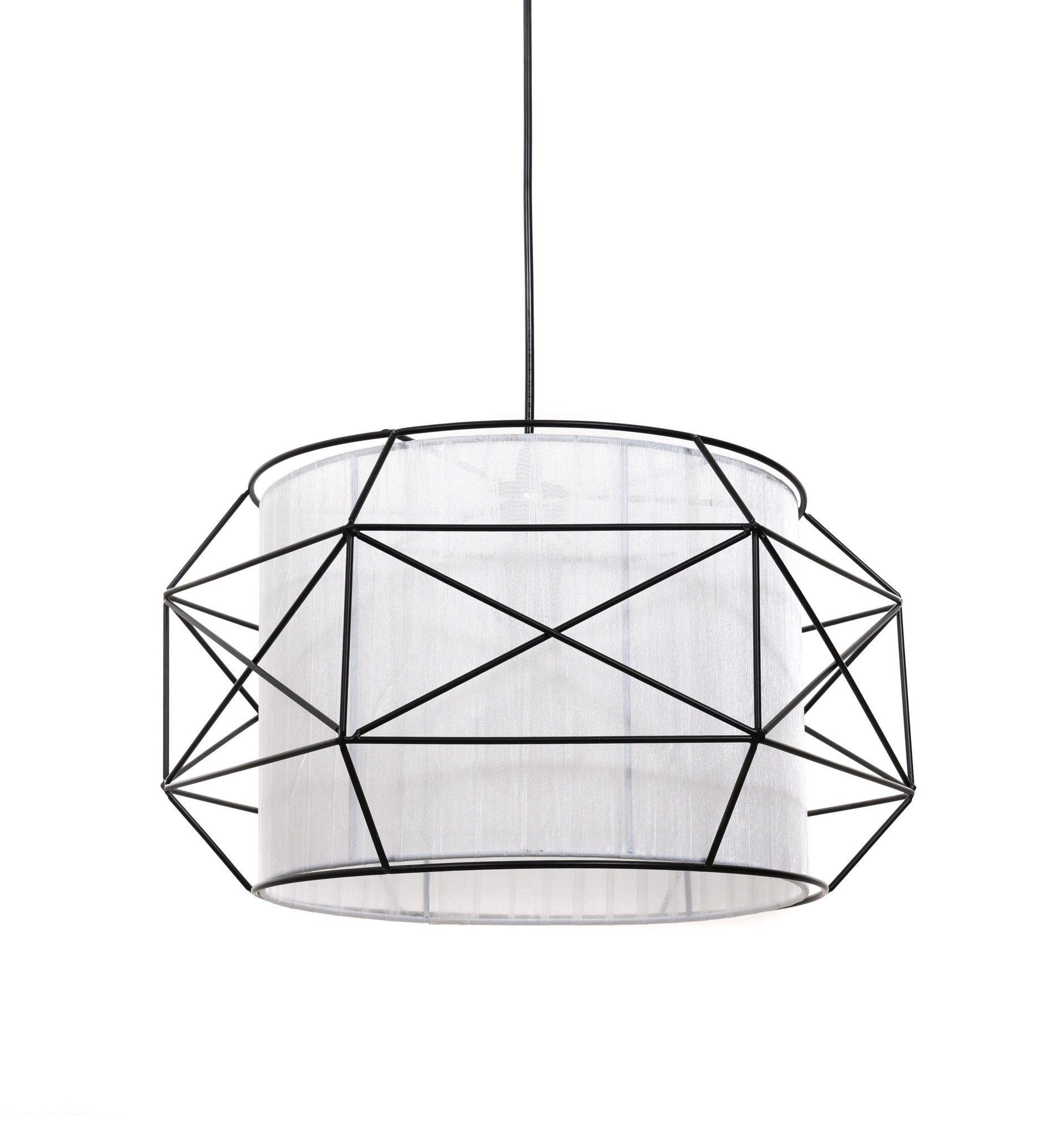 Подвесной светильник Lumina Deco Berti LDP 8001 BK+WT, 1xE27x40W, черный, белый, черно-белый, металл, текстиль - фото 1