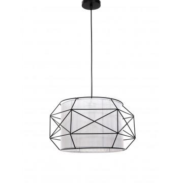 Подвесной светильник Lumina Deco Berti LDP 8001 BK+WT, 1xE27x40W, черный, белый, черно-белый, металл, текстиль - миниатюра 2