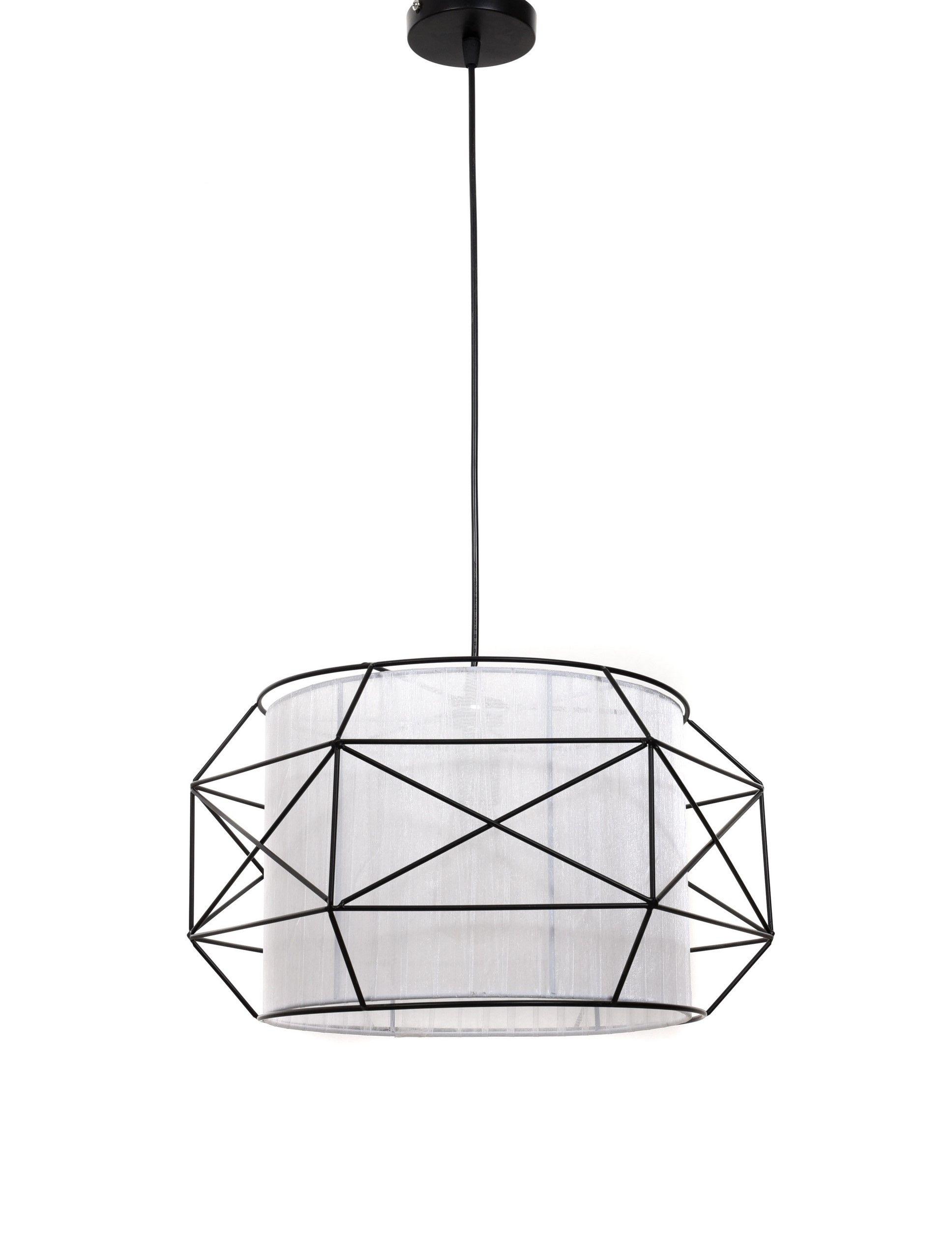 Подвесной светильник Lumina Deco Berti LDP 8001 BK+WT, 1xE27x40W, черный, белый, черно-белый, металл, текстиль - фото 2