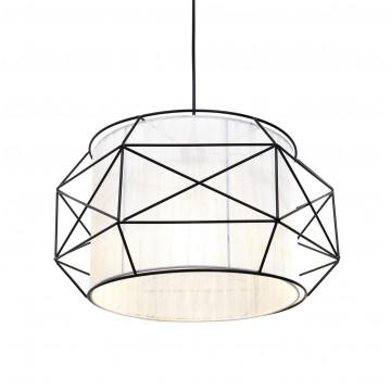 Подвесной светильник Lumina Deco Berti LDP 8001 BK+WT, 1xE27x40W, черный, белый, черно-белый, металл, текстиль - миниатюра 3