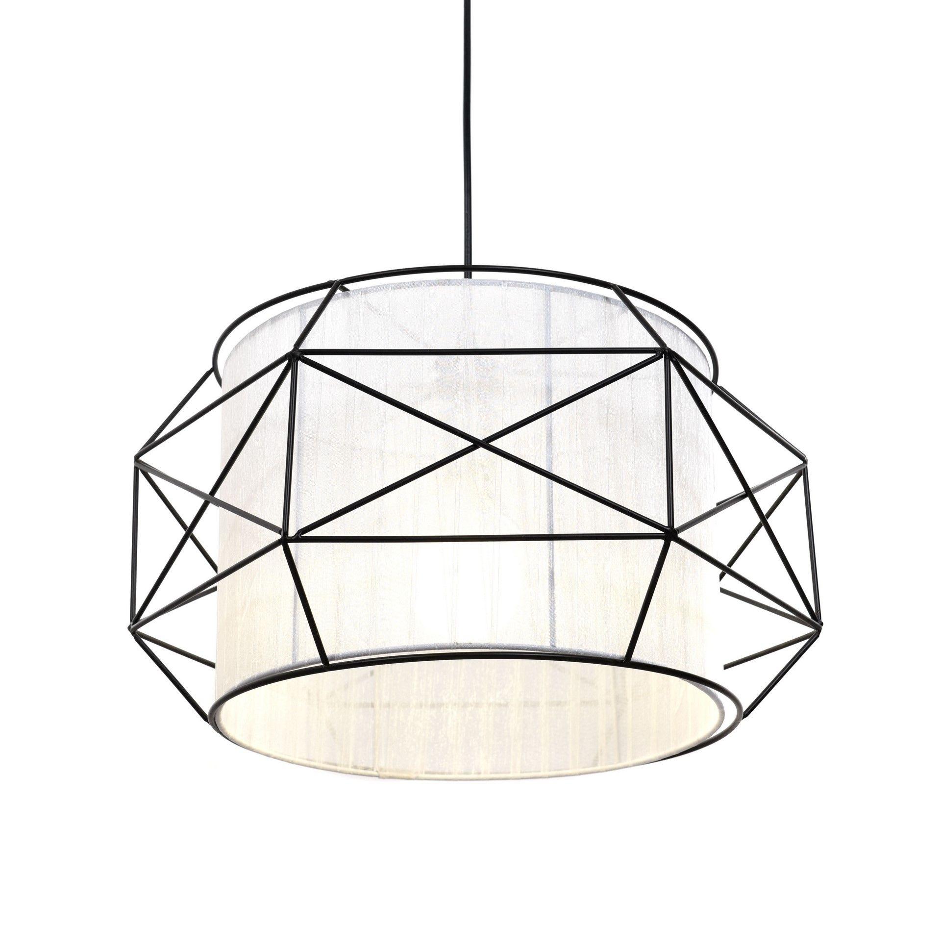 Подвесной светильник Lumina Deco Berti LDP 8001 BK+WT, 1xE27x40W, черный, белый, черно-белый, металл, текстиль - фото 3