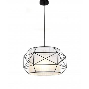 Подвесной светильник Lumina Deco Berti LDP 8001 BK+WT, 1xE27x40W, черный, белый, черно-белый, металл, текстиль - миниатюра 4