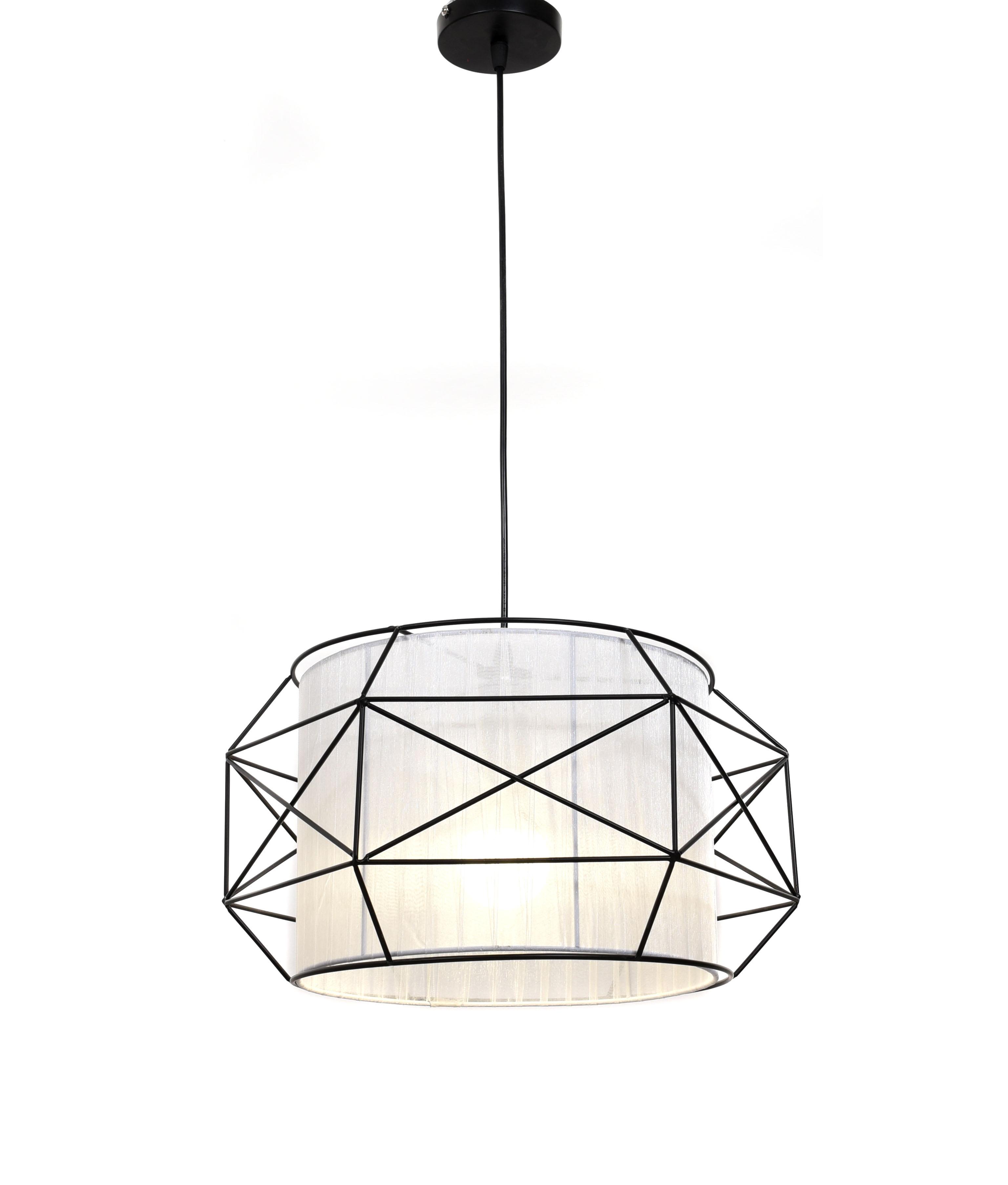 Подвесной светильник Lumina Deco Berti LDP 8001 BK+WT, 1xE27x40W, черный, белый, черно-белый, металл, текстиль - фото 4