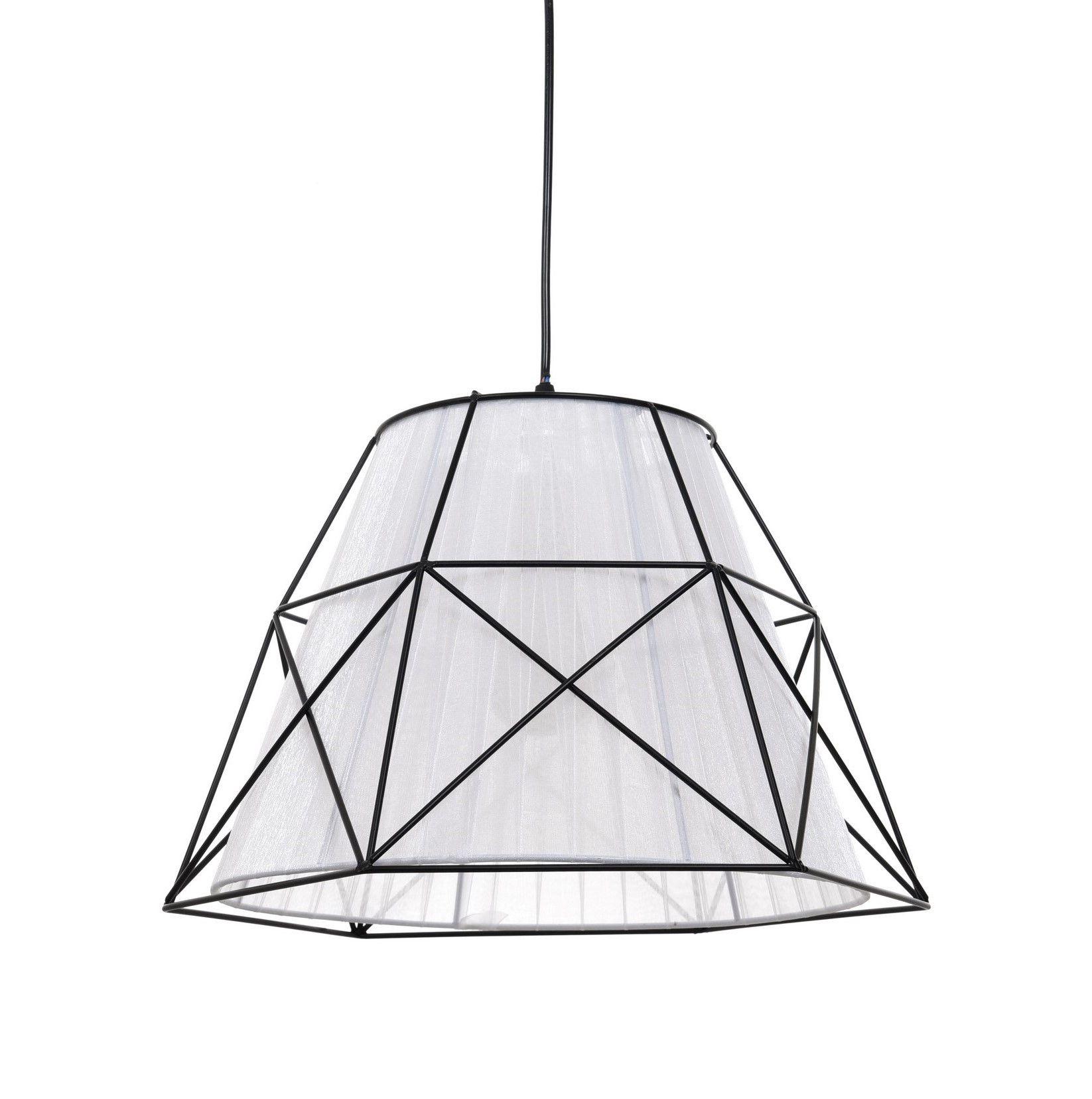 Подвесной светильник Lumina Deco Boneti LDP 8002 BK+WT, 1xE27x40W, черный, черный с белым, металл, текстиль - фото 1