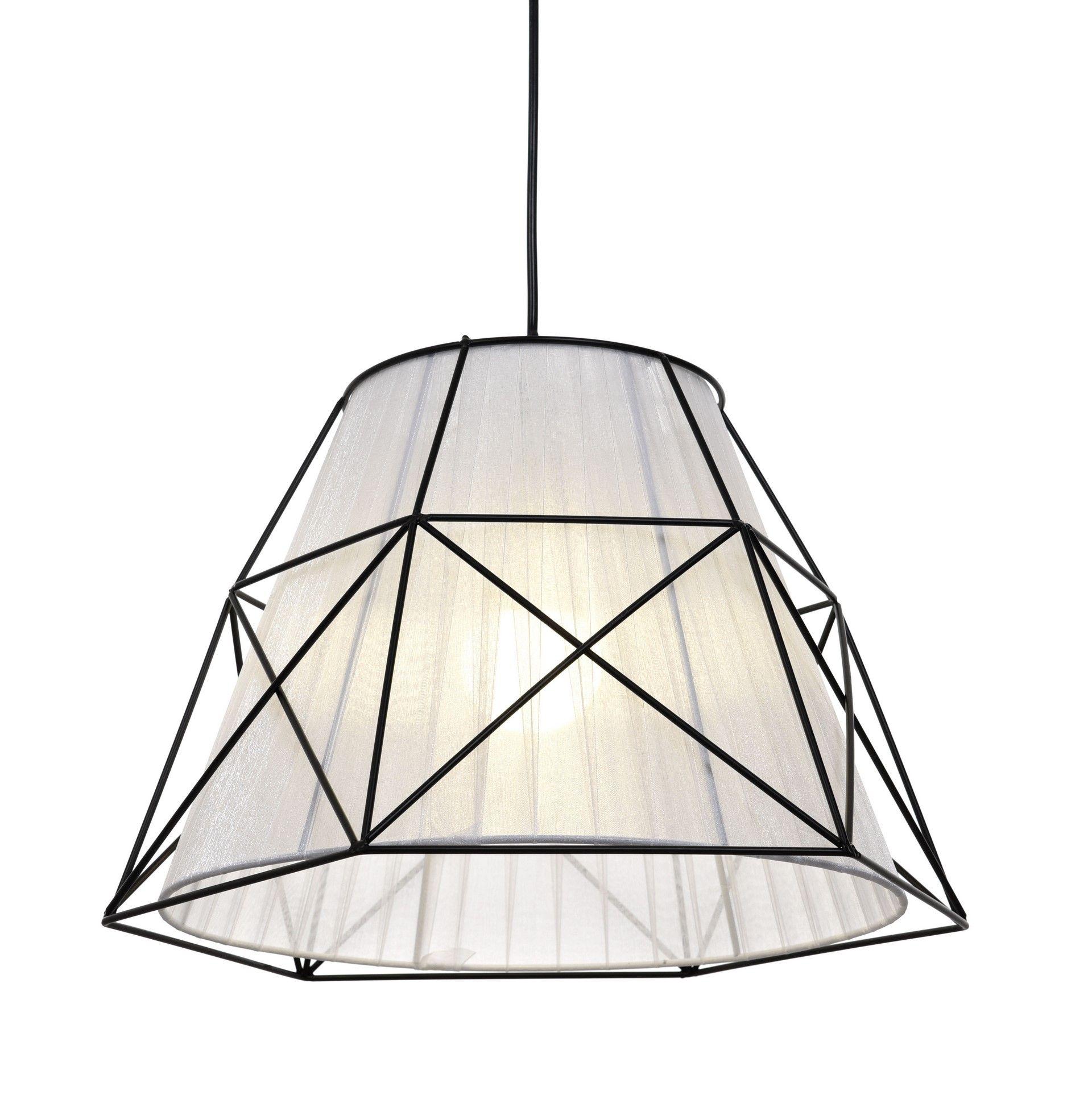 Подвесной светильник Lumina Deco Boneti LDP 8002 BK+WT, 1xE27x40W, черный, черный с белым, металл, текстиль - фото 2