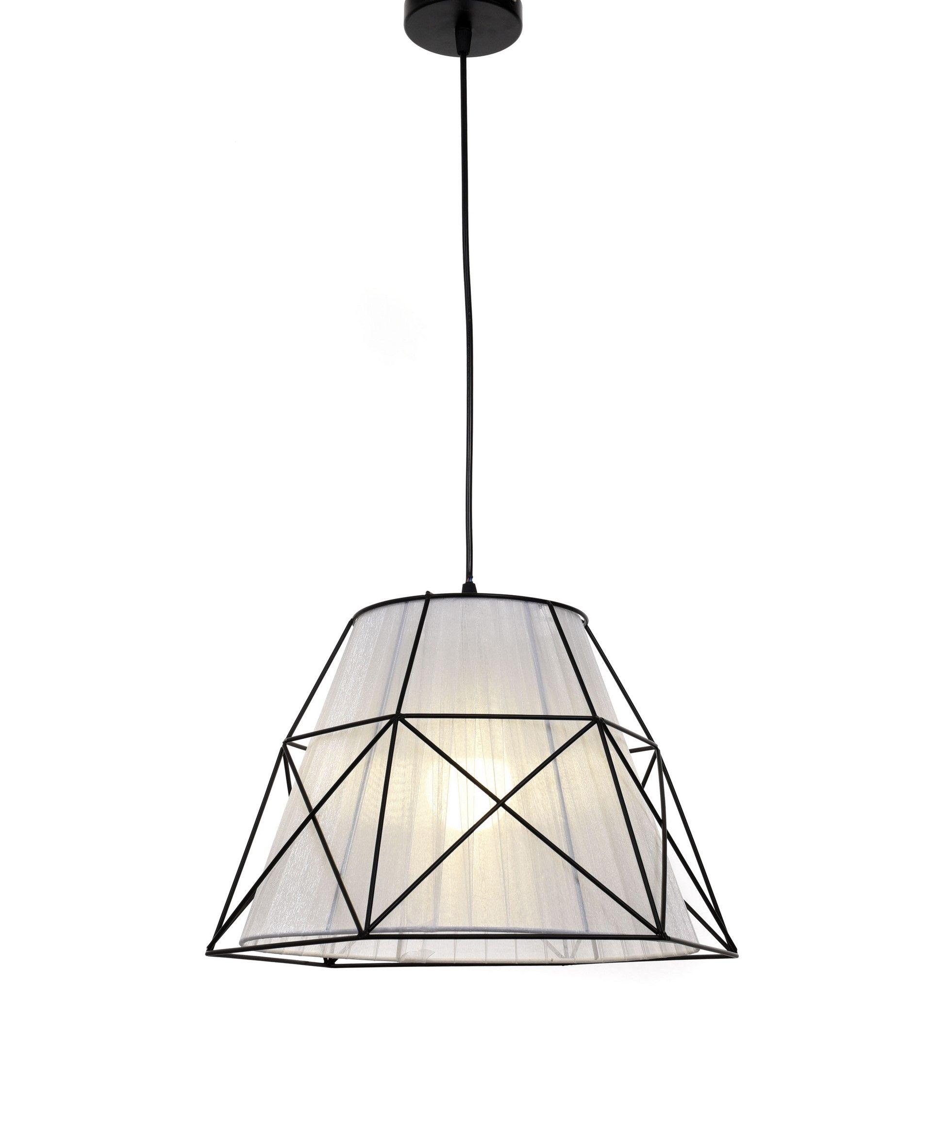 Подвесной светильник Lumina Deco Boneti LDP 8002 BK+WT, 1xE27x40W, черный, черный с белым, металл, текстиль - фото 4