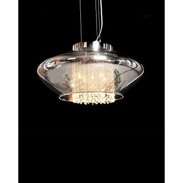 Подвесной светильник Lumina Deco Rivorre LDP 8056, 4xG4x20W, хром, дымчатый, прозрачный, металл, стекло, хрусталь - миниатюра 2