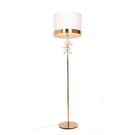 Торшер Lumina Deco Milari LDF 5530 F.GD+WT, 1xE27x40W, золото, белый, металл, текстиль