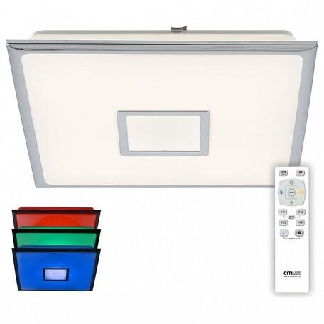 Потолочный светодиодный светильник Citilux Старлайт CL703K80RGB, IP44, LED 80W 3000-4500K + RGB 5200lm, белый, хром, металл, металл с пластиком