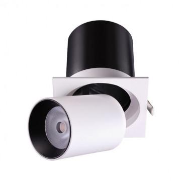 Встраиваемый светодиодный светильник с регулировкой направления света Novotech Spot Lanza 358082, LED 12W 3000K 980lm, белый, белый с черным, металл