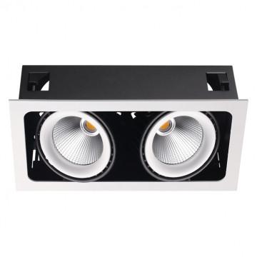 Встраиваемый светодиодный светильник Novotech Spot Gesso 358038, LED 64W 3000K 5888lm, белый, черно-белый, металл