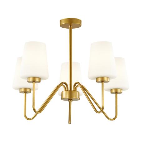 Потолочная люстра Lumion Neoclassi Olivia 3791/5C, 5xE27x60W, матовое золото, белый, металл, стекло