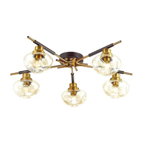 Потолочная люстра Lumion Moderni Yoshi 4405/5C, 5xE14x40W, коричневый с золотом, матовое золото с коричневым, коньячный, металл, стекло