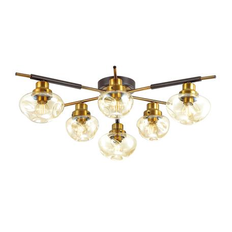 Потолочная люстра Lumion Yoshi 4405/6C, коричневый, матовое золото, коньячный, металл, стекло