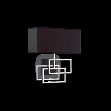 Бра Ideal Lux LUXURY AP1 CROMO 201054, 1xE27x60W, хром, черный, металл, текстиль