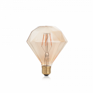 Светодиодная лампа Ideal Lux E27 VINTAGE 04W DIAMOND AMBRA 2200K 201269 (VINTAGE E27 4W DIAMOND 2200K) пирамида E27 4W (теплый)