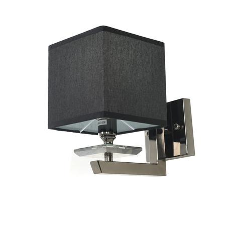 Настенный светильник Lumina Deco Fianelo LDW 1248-1 BK, 1xE14x40W, хром, черный, металл с хрусталем, текстиль