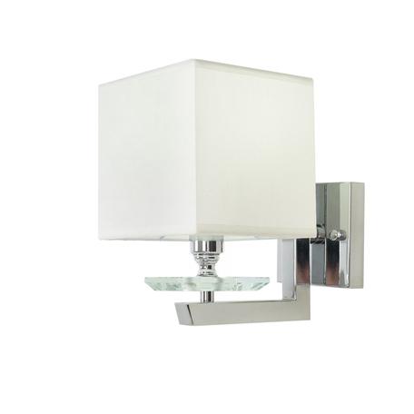 Настенный светильник Lumina Deco Fianelo LDW 1248-1 WT, 1xE14x40W, хром, белый, металл с хрусталем, текстиль
