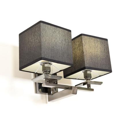 Настенный светильник Lumina Deco Fianelo LDW 1248-2 BK, 2xE14x40W, хром, черный, металл с хрусталем, текстиль