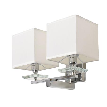Настенный светильник Lumina Deco Fianelo LDW 1248-2 WT, 2xE14x40W, хром, белый, металл с хрусталем, текстиль