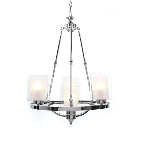 Подвесная люстра Lumina Deco Santini LDP 1220-4 CHR+WT, 4xE27x40W, хром, белый, прозрачный, металл, стекло