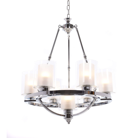 Подвесная люстра Lumina Deco Santini LDP 1220-7 CHR+WT, 7xE27x40W, хром, белый, прозрачный, металл, стекло