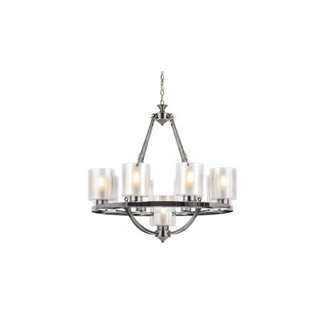 Подвесная люстра Lumina Deco Santini LDP 1220-9 CHR+WT, 9xE27x40W, хром, белый, прозрачный, металл, стекло