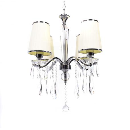 Подвесная люстра Lumina Deco Alessia LDP 1726-4 BG, 4xE27x20W, хром, бежевый, прозрачный, металл со стеклом, текстиль, хрусталь