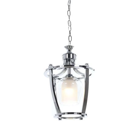 Подвесной светильник Lumina Deco Brooklin LDP 1231-1 CHR+WT, 1xE27x40W, хром, белый, прозрачный, металл, металл со стеклом