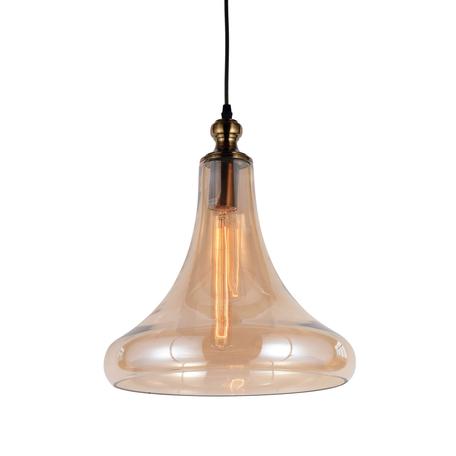 Подвесной светильник Lumina Deco Zaga LDP 6840 AB+MD, 1xE27x40W, бронза, янтарь, металл, стекло