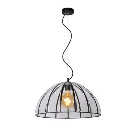 Подвесной светильник Lucide Timius 25403/50/30, 1xE27x60W, черный, прозрачный, металл, стекло