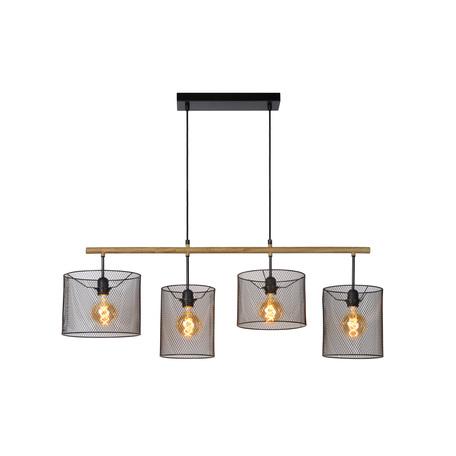 Подвесной светильник Lucide Baskett 45459/04/30, 4xE27x60W, коричневый, черный, дерево, металл