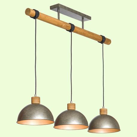Подвесной светильник Lussole Loft Kerr GRLSP-8149, IP21, 3xE27x10W, коричневый, сталь, металл, дерево