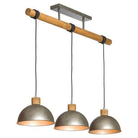 Подвесной светильник Lussole Loft Kerr LSP-8149, IP21, 3xE27x60W, коричневый, сталь, металл, дерево