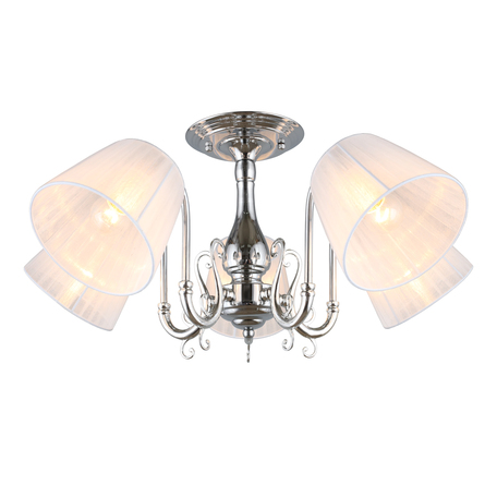Светильник Omnilux Leonessa OML-29127-05, 5xE27x60W, хром, белый, металл, текстиль