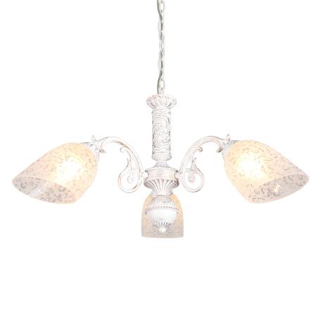 Светильник Omnilux Palaia OML-64803-03, 3xE27x60W, белый с золотой патиной, белый, металл, стекло