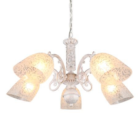 Светильник Omnilux Palaia OML-64803-05, 5xE27x60W, белый с золотой патиной, белый, металл, стекло