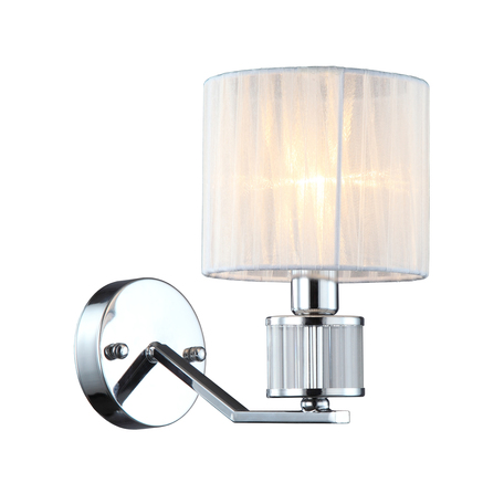 Светильник Omnilux Grandate OML-66401-01, 1xE14x40W, хром с прозрачным, белый, металл с хрусталем, текстиль