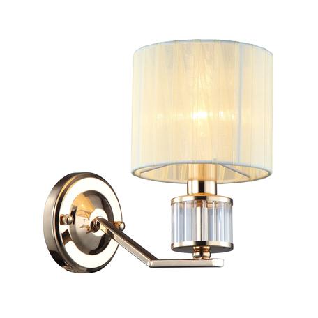 Светильник Omnilux Grandate OML-66411-01, 1xE14x40W, золото с прозрачным, бежевый, металл с хрусталем, текстиль