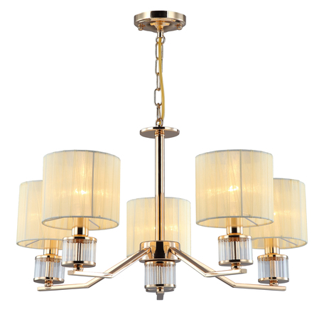 Светильник Omnilux Grandate OML-66413-05, 5xE14x40W, золото с прозрачным, бежевый, металл с хрусталем, текстиль