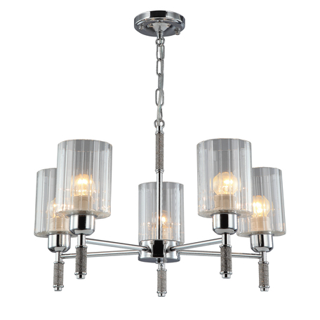 Светильник Omnilux Dronero OML-66503-05, 5xE27x60W, хром, прозрачный, металл, стекло