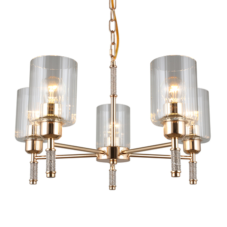 Светильник Omnilux Dronero OML-66513-05, 5xE27x60W, золото, прозрачный, металл, стекло