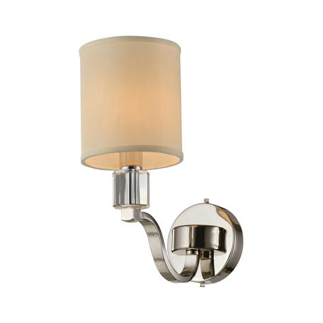 Светильник Aployt Ivet APL.706.01.01, 1xE14x40W, хром с прозрачным, бежевый, металл со стеклом, текстиль