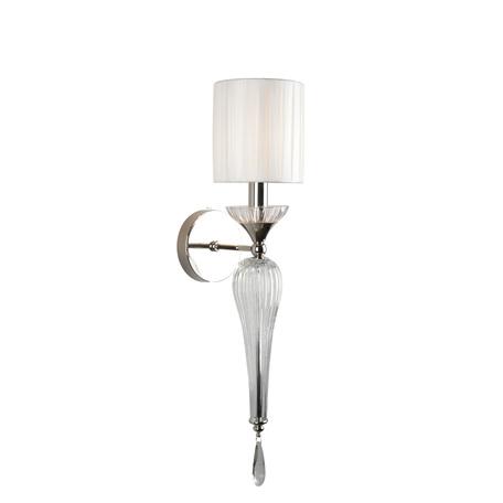 Светильник Aployt Kinia APL.708.01.01, 1xE14x40W, хром с прозрачным, прозрачный с хромом, белый, прозрачный, металл со стеклом, стекло с металлом, текстиль, хрусталь