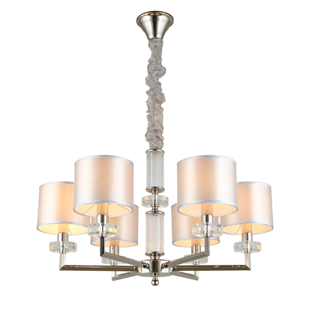 Светильник Aployt Emelin APL.752.03.06, 6xE14x40W, хром с прозрачным, серый, металл с хрусталем, текстиль