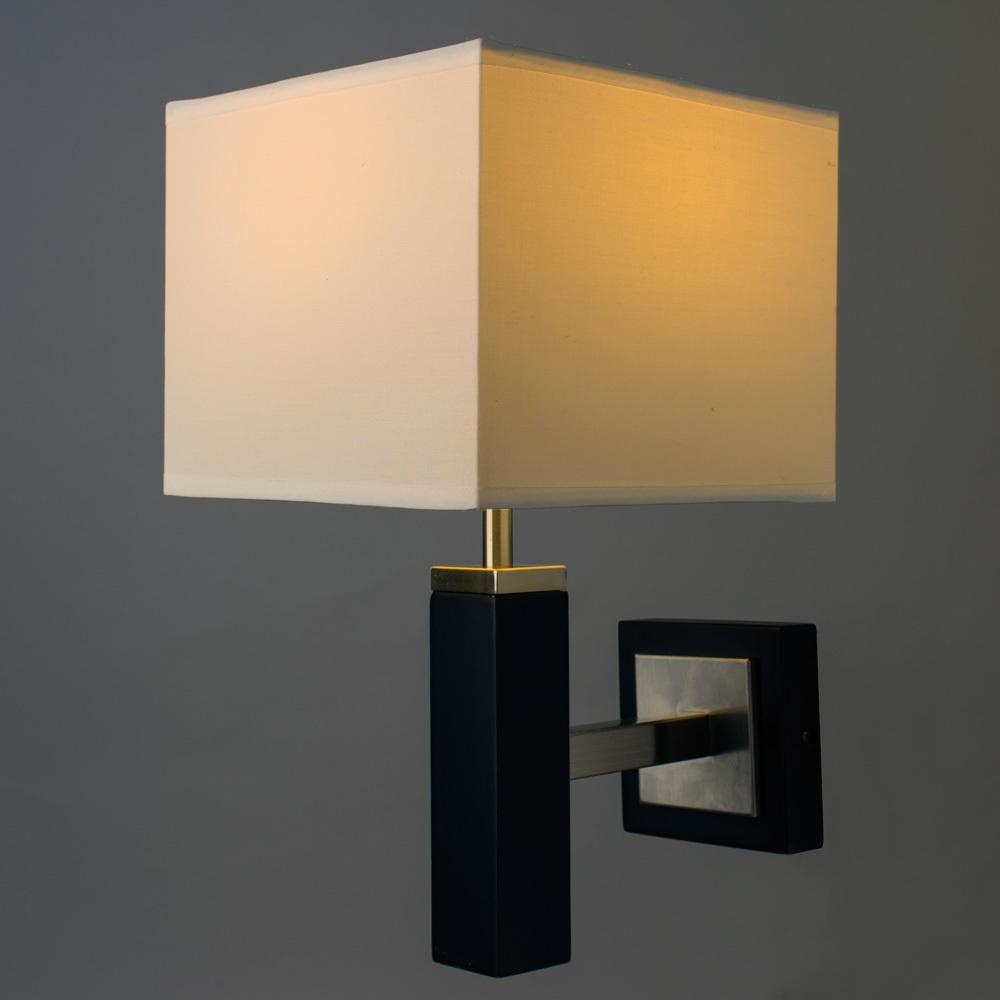 Бра Arte Lamp Waverley A8880AP-1BK, 1xE14x40W, черный, белый, дерево, текстиль - фото 2