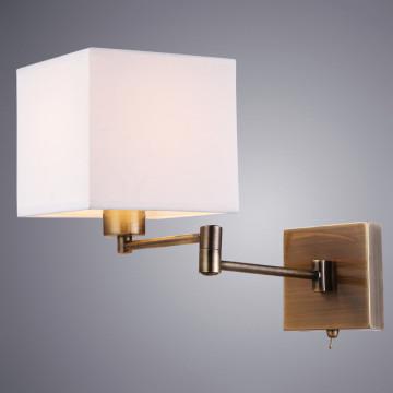 Бра Arte Lamp Hall A9247AP-1AB, 1xE27x40W, бронза, белый, металл, текстиль