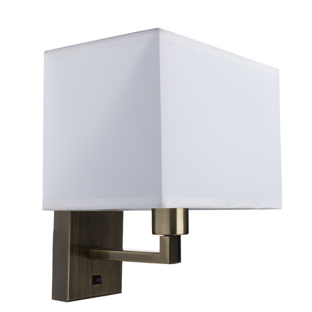 Бра Arte Lamp Hall A9248AP-1AB, 1xE27x40W, бронза, белый, металл, текстиль