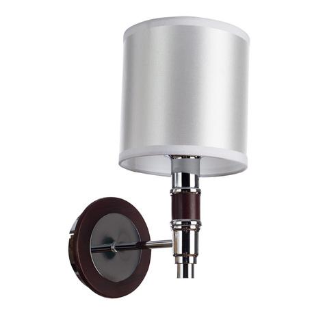 Бра Arte Lamp Circolo A9519AP-1BR, 1xE14x40W, коричневый, белый, металл, дерево, текстиль