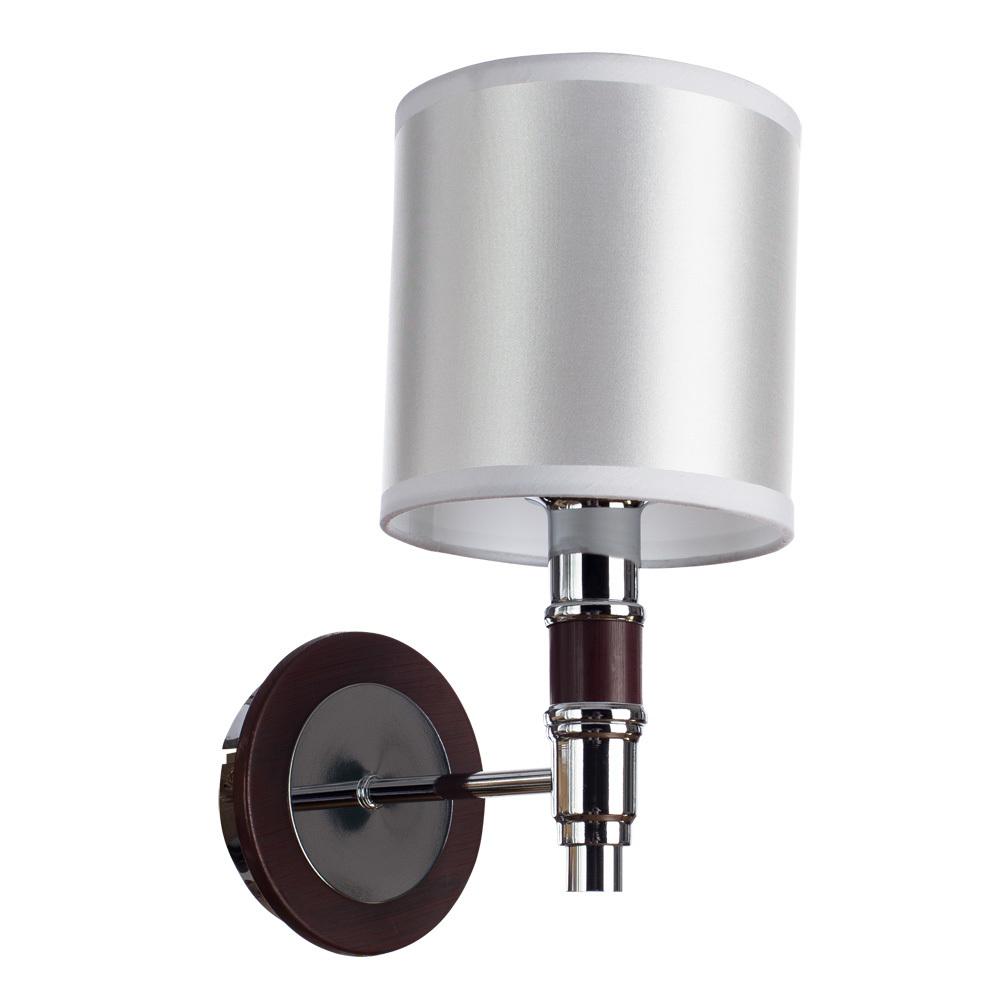 Бра Arte Lamp Circolo A9519AP-1BR, 1xE14x40W, коричневый, белый, металл, дерево, текстиль - фото 1